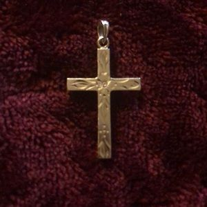 14k Gold Engraved Cross with Flower and Leaves